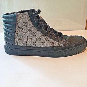 Men's Gucci High Top Sneakers 10D Nero/Beige Ebony